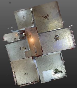 3D laser scanning of interior for creation of digital model of architectural plan
