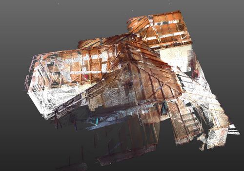 3D laser scanning of interior for creation of digital model of architectural plan - under-roof space